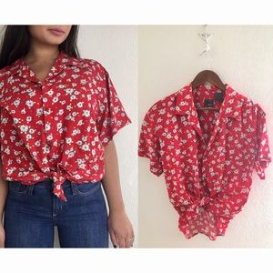 Vintage Lizwear | Daises Red Button Down Blouse
